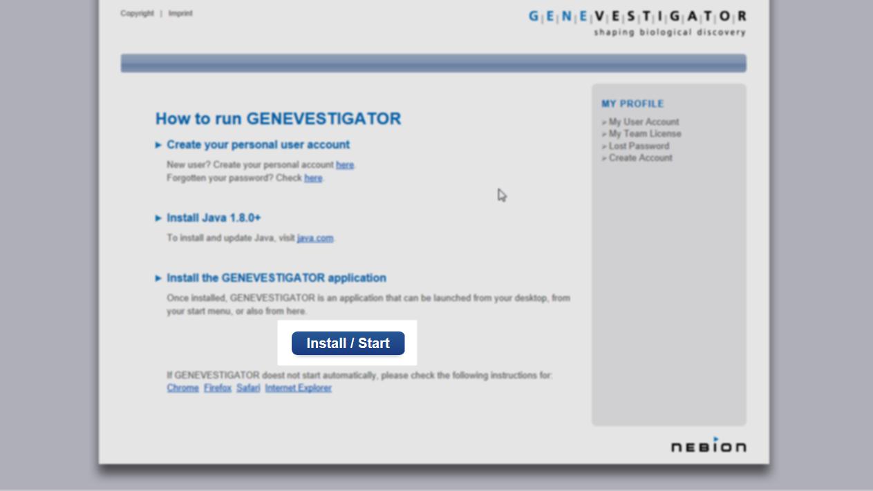 Installing GENEVESTIGATOR using Firefox